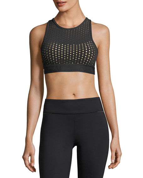 Layered Mesh Cross-Back Mid-Impact Sports Bra