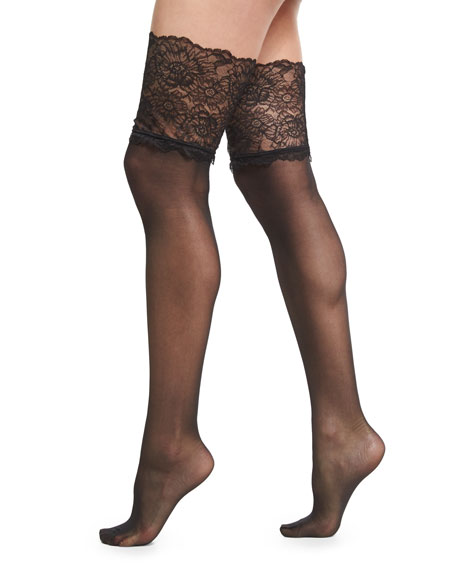Wolford Lace-Filigree Stay-Up Thigh-High Stockings, Black