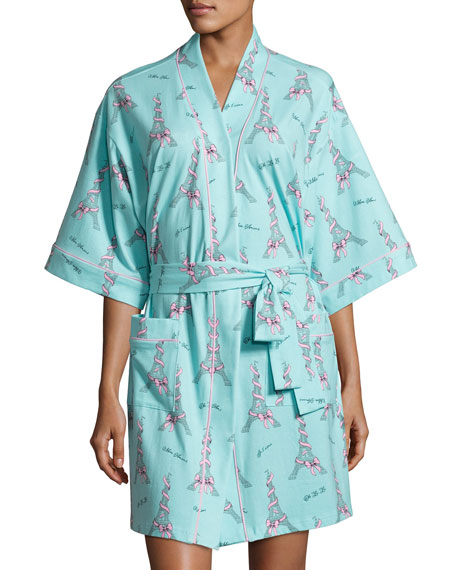 Bedhead French Bow Short Kimono Robe, Light Blue