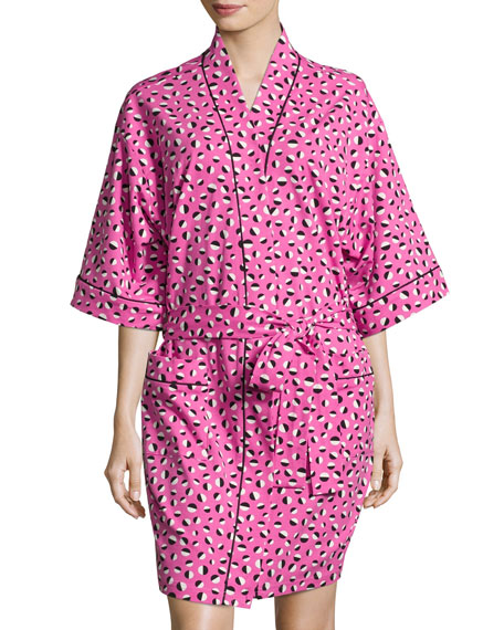 Bedhead Demi Ball Dot Short Kimono Robe, Fuchsia/Black