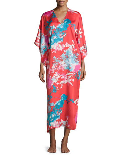 Chianti Floral-Print Lounge Caftan, Plus Size, Cinnabar