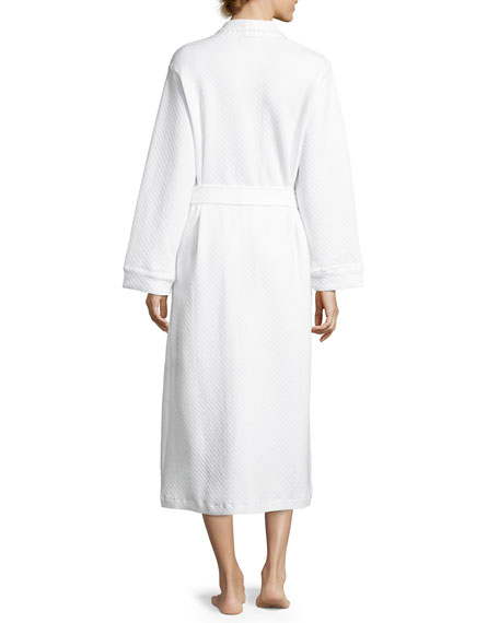 Quilted Basket-Weave Robe, White