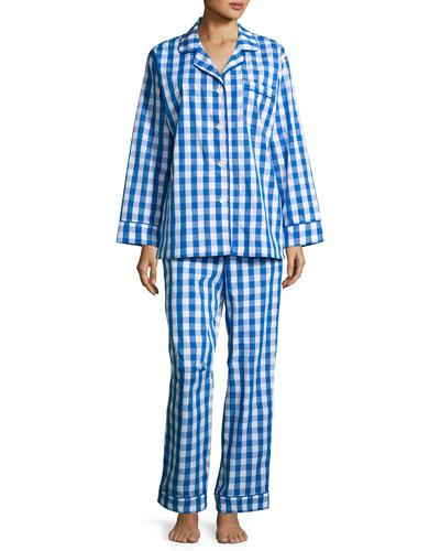 Gingham-Print Pajama Set, Navy, Plus Size