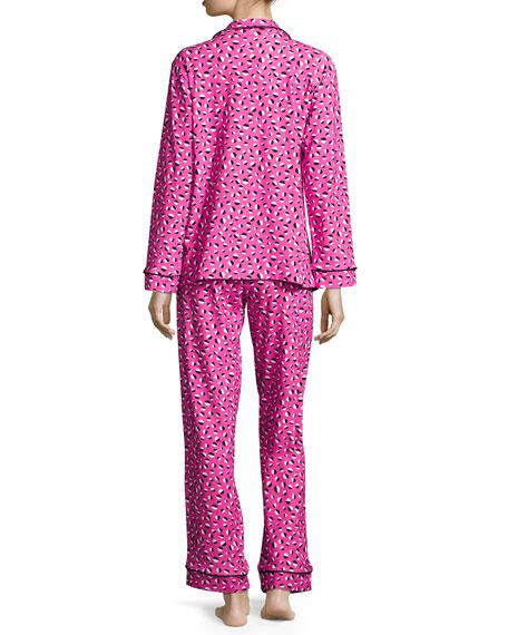 Demi-Ball Dotted Classic Pajama Set, Fuchsia/Black
