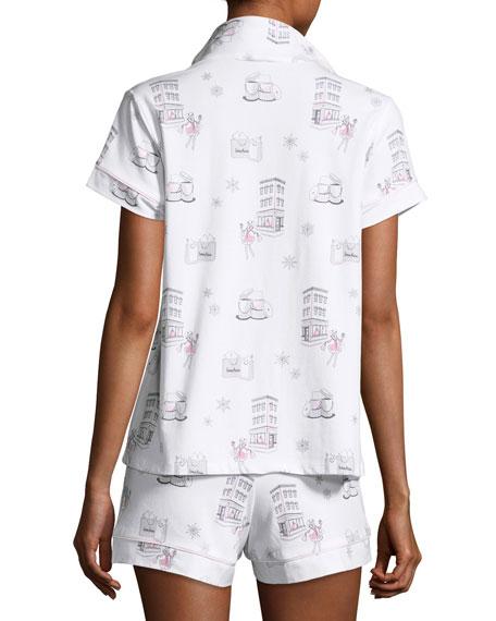 Short-Sleeve Print Shortie Pajama Set, Winter Shopping