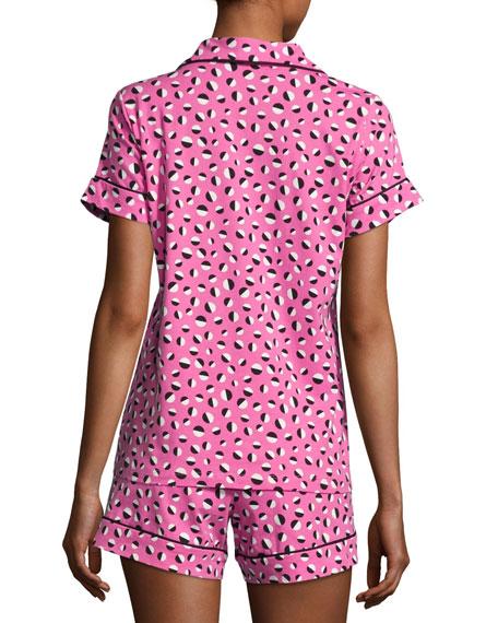 Demi Ball Dot Shorty Pajama Set, Fuchsia/Black, Plus Size