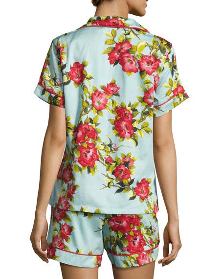Hibiscus Floral-print Shorty Pajama Set, Light Blue