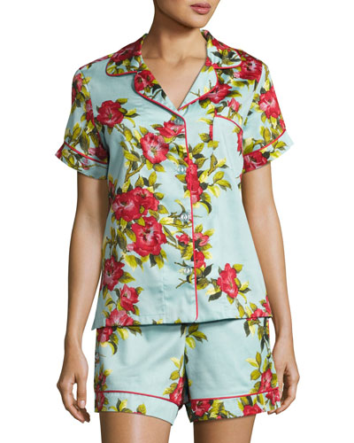 Hibiscus Floral-print Shorty Pajama Set, Light Blue
