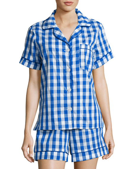 Gingham Shorty Pajama Set, Navy, Plus Size