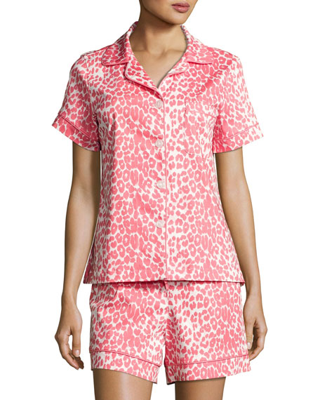 Wild Thing Shortie Pajama Set, Coral/Ivory, Plus Size