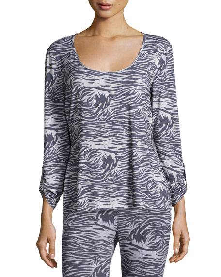 Cosabella Capone Long-Sleeve Lounge Top, Dove Gray/Anthracite