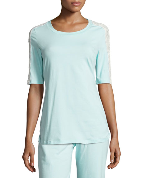 Cosabella Sonia Lace-Trim Lounge Top, Blue/White