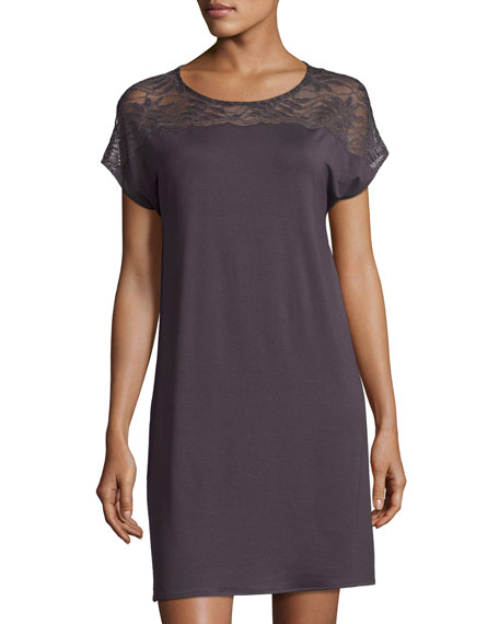 Greta Cap-Sleeve Nightgown, Brown