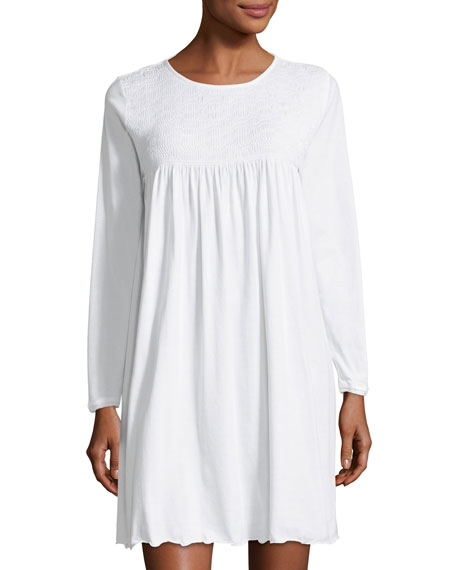 P Jamas Pamela Long-Sleeve Short Nightgown