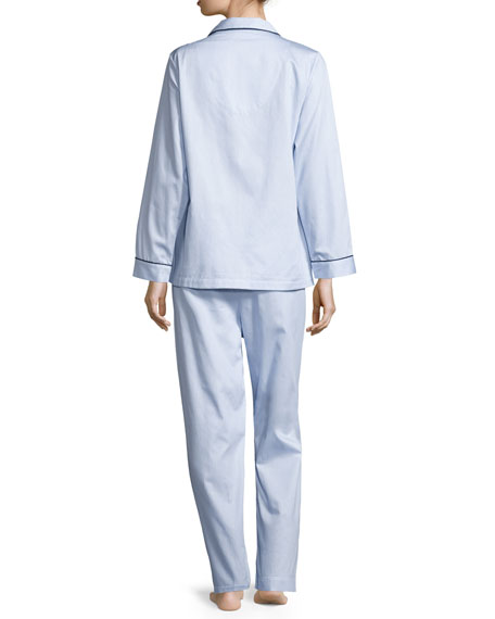 Fine Striped Long-Sleeve Pajama Set, Blue/White