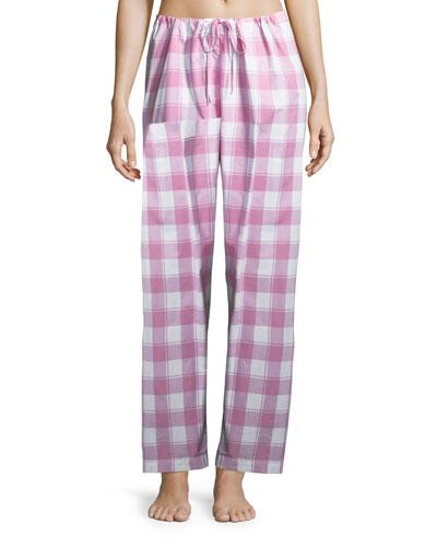Check-Print Cotton Pants