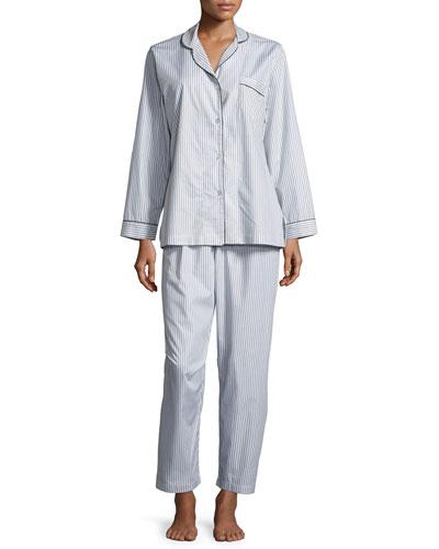 Pinstriped Long-Sleeve Pajama Set, Gray/White
