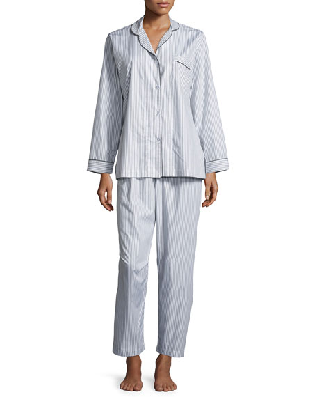 Pinstriped Long-Sleeve Pajama Set, Gray/White