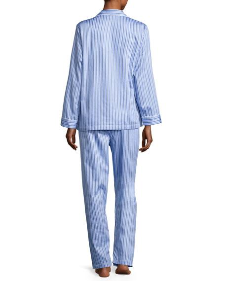 Haberdashery Long-Sleeve Pajama Set, Blue/White