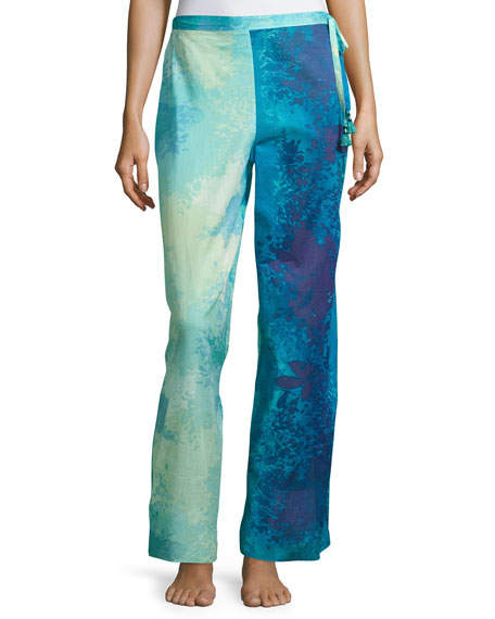 Natori Floral Stream Lounge Pants, Blue Multi
