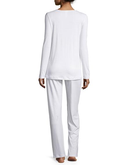 Franca Mesh-Inset Pajamas, Off White