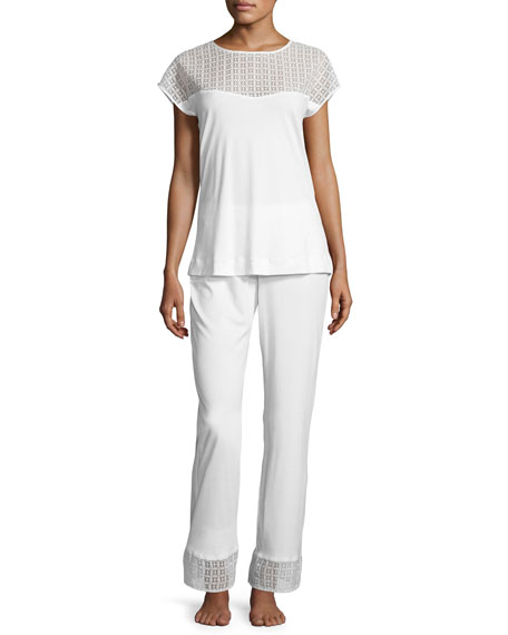 Hanro Mathilde Jersey Pajama Set, Off-White