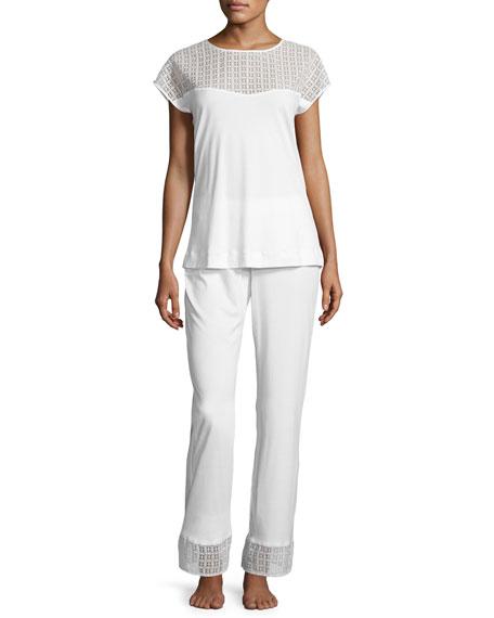 Hanro Mathilde Jersey Pajama Set, Off-White