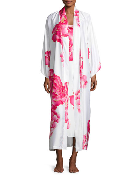 Peony Long Satin Nightgown, Multi Pattern