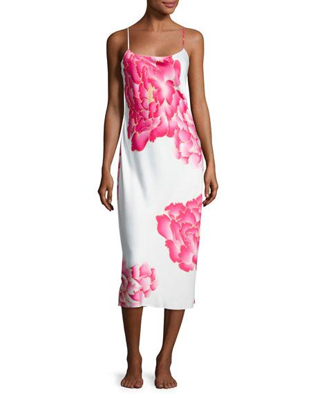 Peony Long Satin Nightgown, Multi Pattern