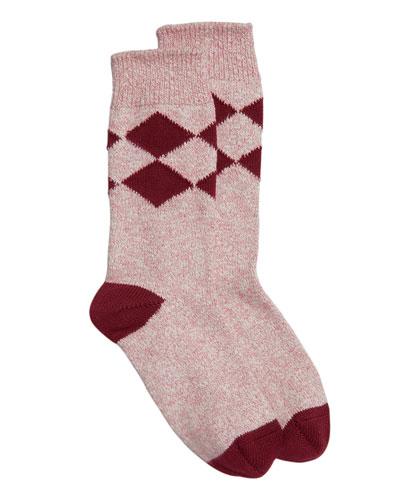 Marbled Diamond-Pattern Cotton Socks, Burgundy