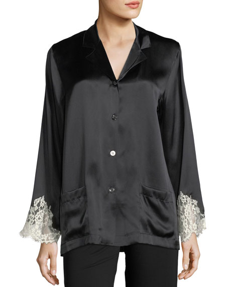 Lise Charmel Lace-Trim Silk Button-Front Lounge Top and