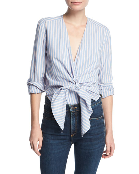 Diana Striped Tie-Front Cotton Bodysuit