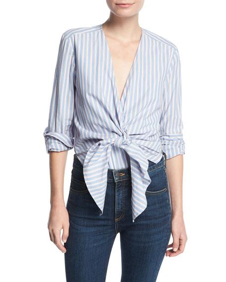 Diana Striped Tie-Front Cotton Bodysuit