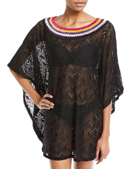 Missoni Mare Embroidered Bateau-Neck Short Kaftan