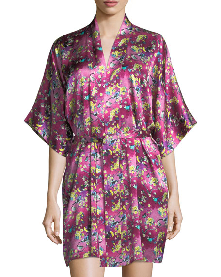 Christine Designs Whimsy Floral-Print Silk Robe