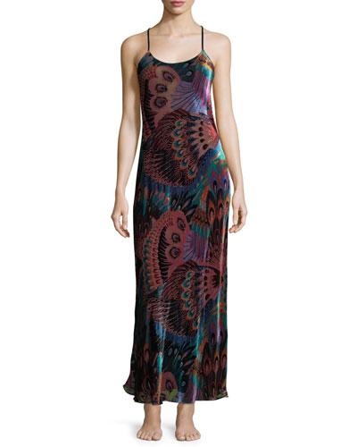 Gatsby Peacock-Print Velvet Nightgown