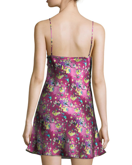 Whimsy Floral-Print Silk Chemise
