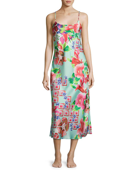 Natori Star Blossom Long Satin Nightgown, Blue Pattern