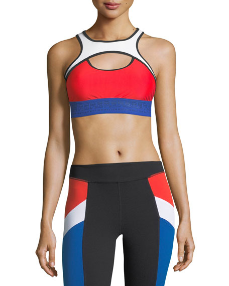 PE Nation Double Header Crop Performance Sports Bra