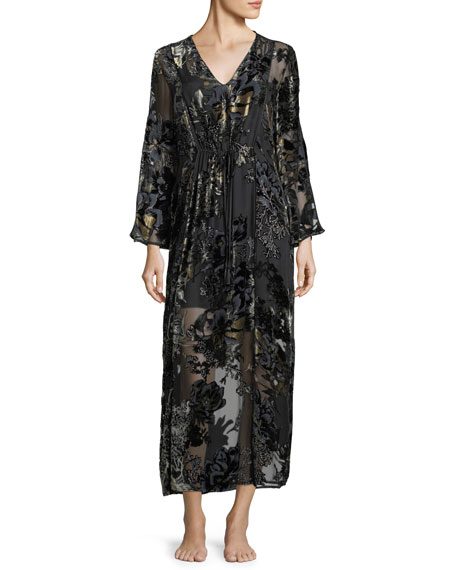 Luna Long Velvet-Burnout Caftan