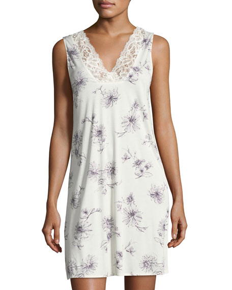 Hanro Camille Floral-Print Tank Nightgown