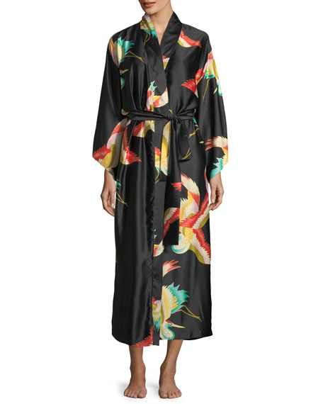 Natori Vermillion Bird-Print Satin Nightgown and Matching Items