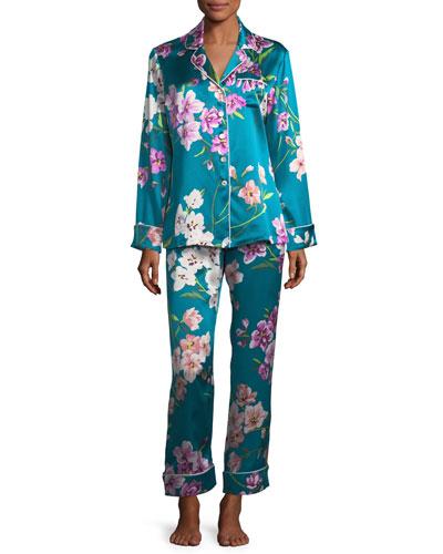 Lila Barbara Long Silk Pajama Set