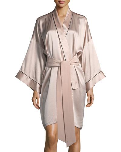 Mini Oyster Short Silk Robe