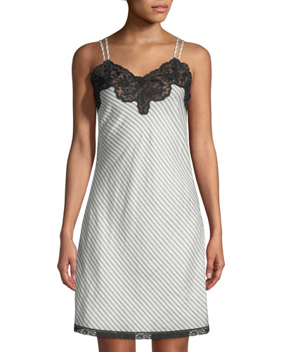 Margot Lace-Trim Striped Silk Chemise