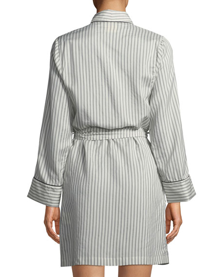 Alix Striped Long-Sleeve Silk Robe