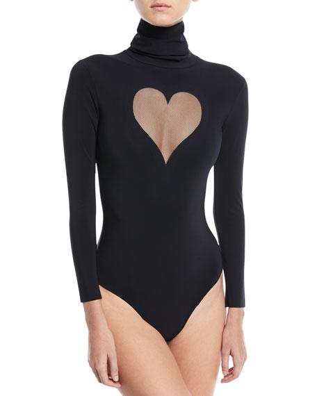 Chantal Thomass I Love You Cutout Long-Sleeve Bodysuit