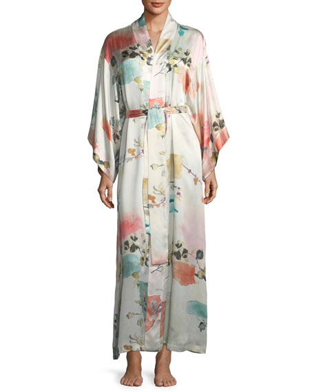 Josie Natori Watercolor Floral Long-Sleeve Silk Robe