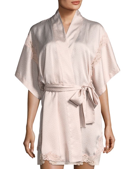 Labyrinth-Print Short Satin Robe