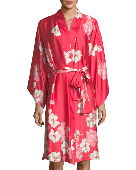 Natori Magnolia Print Satin Long Robe